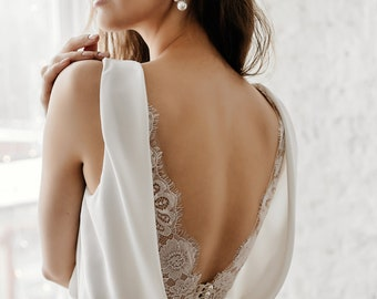 Wedding dress simple, Boho wedding dress, Crepe, Open back, Romantic, Bridal gown ERIKA