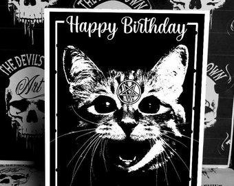 Gothic Cat Birthday Greetings Card - Birthday Card - Cat - Cat lover -Spooky