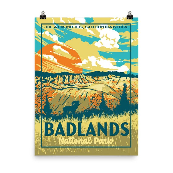 Badlands National Park Black Hills South Dakota Vintage Wpa Etsy