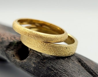 bronze wedding rings set 8th anniversary gift Urban matching rings for couples Non traditional wedding rings