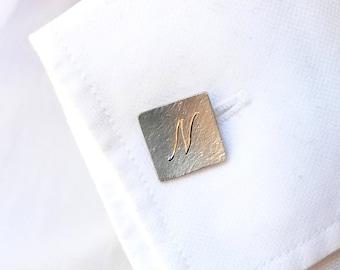 Initials Cufflinks, Monogram Silver Cufflinks, Mens Jewelry, Personalized Groom Accessory, Custom Made Cufflinks, Anniversary Gift For Him