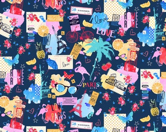 Navy Sightseeing # CX9211-NAVY - Michael Miller Wanderlust by MMF Collection - cotton quilting fabric - by the yard - 1 yard cut