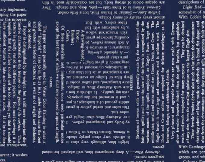 Painters Palette Watercolor Text Dk Blue # C8942R-DKBLU - quilting fabric - 1 yard panel