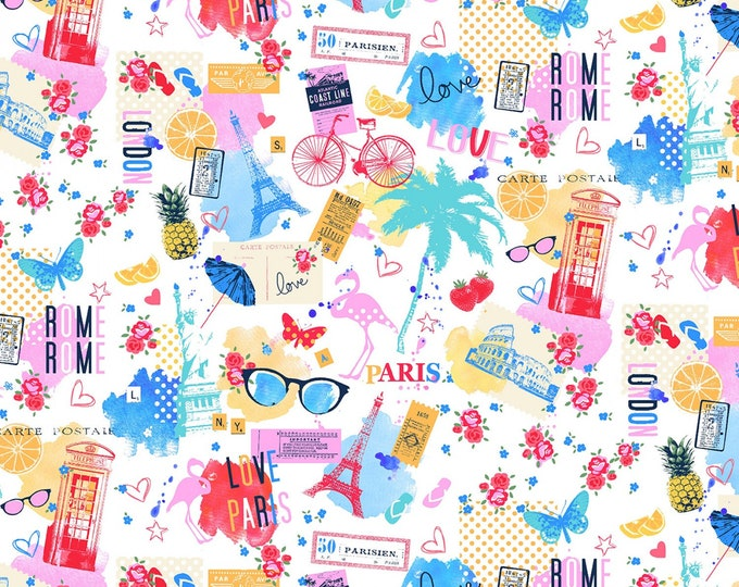 White Sightseeing # CX9211-WHITE - Michael Miller Wanderlust by MMF Collection - cotton quilting fabric - by the yard - 1 yard cut