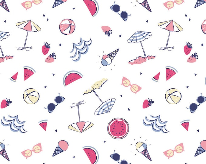 White Summer Fun # 71190304-1 From Camelot Fabrics - cotton quilting fabric - by the yard - 1 yard cut