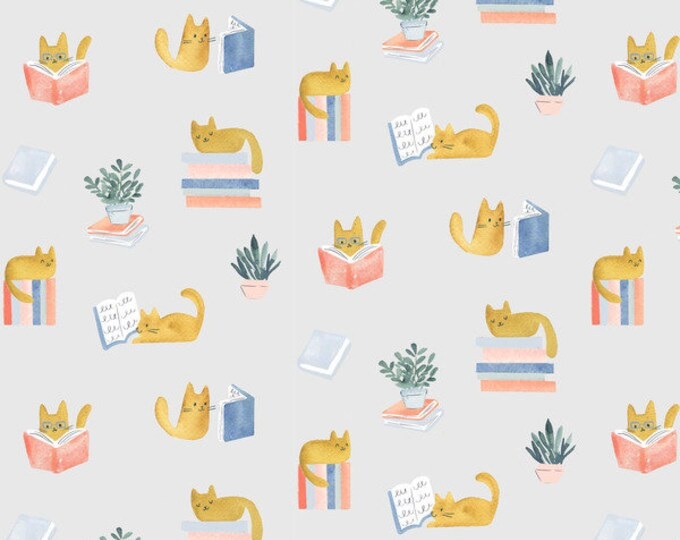 Dear Stella - Creative Cats - Clara Jean - Library Cat in Multi - 100% cotton quilting fabric