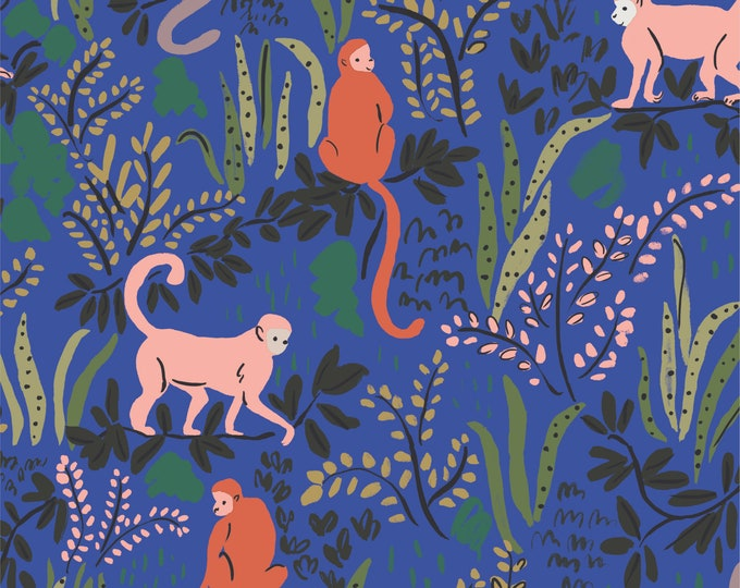 Cloud 9 - Garden of Eden - Tranquil Monkeys - Louise Cunningham - Organic cotton quilting fabric - by the yard - 1 yard cut