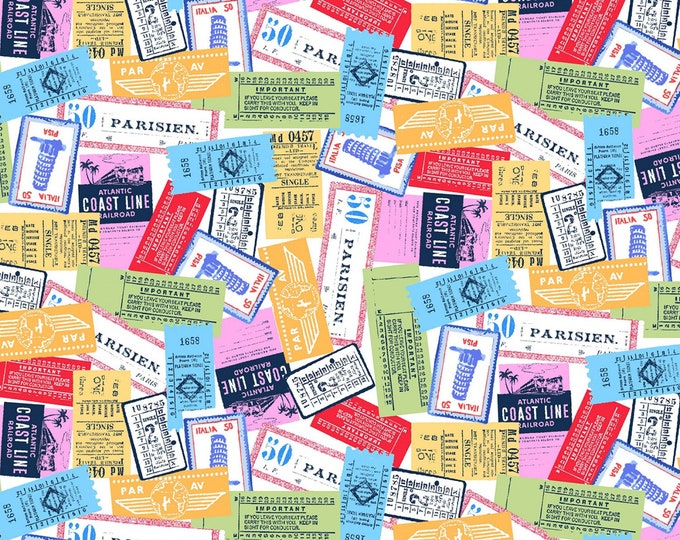 Multi All Aboard # CX9218-MULTI - From Michael Miller Wanderlust by MMF Collection - cotton quilting fabric - by the yard - 1 yard cut