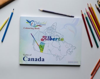 Alberta Sights of Canada Activity and Colouring Books for Children and Adults