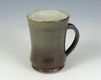 Handcrafted Stoneware Green and Brown Mug