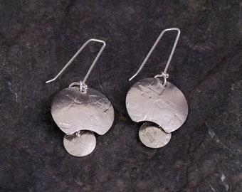 Sterling Silver Handcrafted Disc Dangle Earrings by Paula Dennen