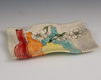 Handcrafted Serving Dish With Colorful Flower Vase Pattern by Artist Marcia Eager