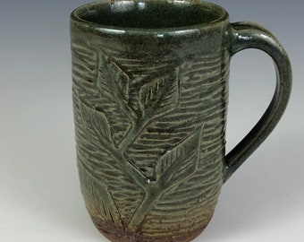 Handcrafted Stoneware Green and Brown Mug with Leaf Detail