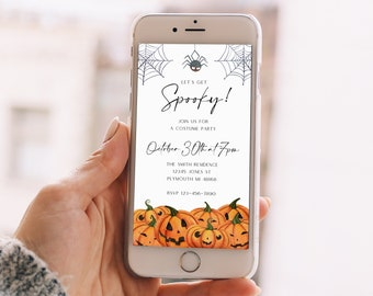 Electronic Halloween Invitation Halloween Evite Digital iPhone Halloween Smartphone Halloween Party Invite Costumes and Cocktails Party