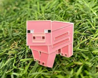 Minecraft pig enamel pin