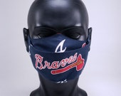 Atlanta Baseball Face Mask, Sports, 100 Cotton, Reusable, Washable, Hand Made in USA, In stock and ready to ship