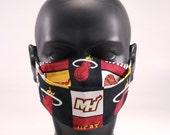 Miami Basketball Face Mask, Sports, Florida, 100 Cotton, Reusable, Washable, Hand Made in USA, In stock and ready to ship