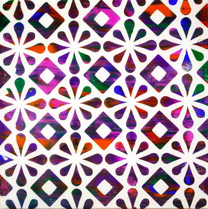 Handmade Original Artwork Stars and Diamonds Acrylic Painting coated in ArtResin on Wood Panel