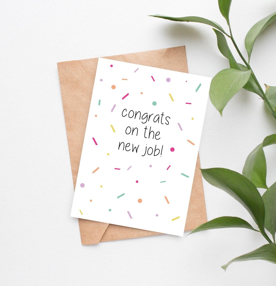 new job card congrats on the new job greeting card  etsy