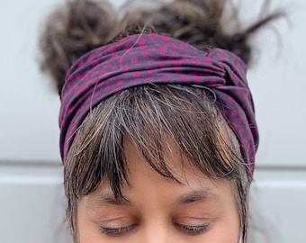 Organic Headband/ turban with twist for woman stretch cotton with print head wrap