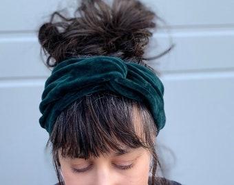 Velvet Headband/ turban with twist for woman Organic stretch cotton