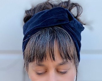 Velvet Organic Headband/ tulband with twist for woman stretch cotton head wrap