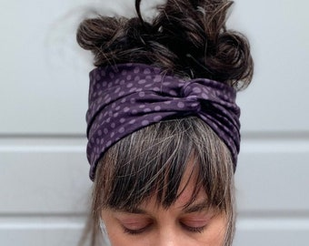 Organic Headband/ turban with twist for woman stretch cotton with print