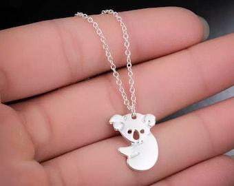 Koala Bear Necklace Charm Pendant Cute Animal Zoo Australian Emigrating Gift