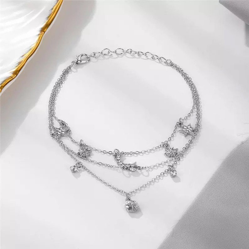 Boho Flower Star Moon Crystal Anklets  Beach Ankle Bracelet Jewellery Perfect mothers day gift Silver Crescent Moon Layered Charm Anklet