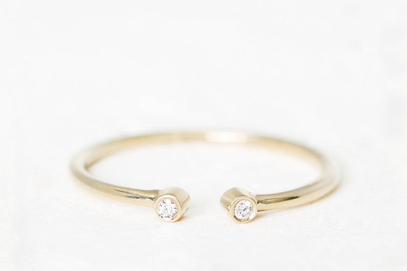 Daily Gold Ring Open Diamond Ring Delicate Diamond Stack Ring Two Diamond Gold Ring Real Diamond Open Gold Ring Mother/'s Day Sale