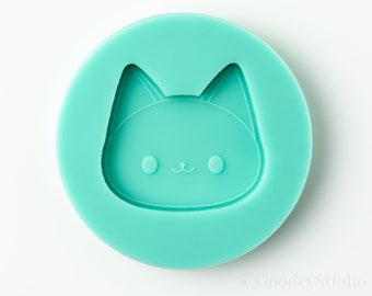 Kawaii Cat Head Mold, Silicone Mold for Resin, 6mm Casting Mold, Handmade Mold
