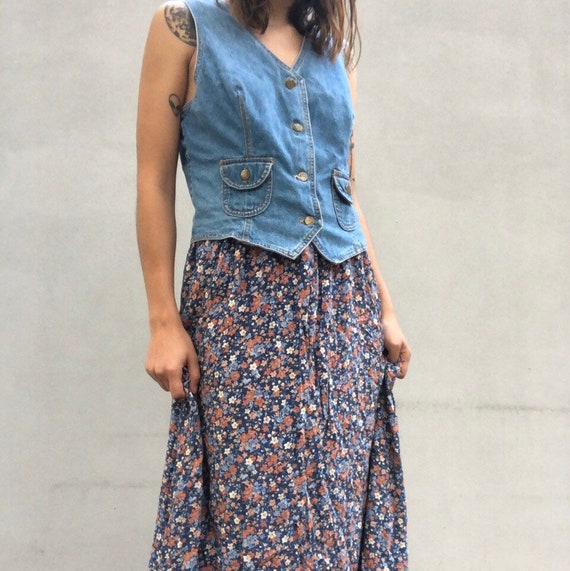 Vintage 1980s 80s denim waistcoat and ditsy floral