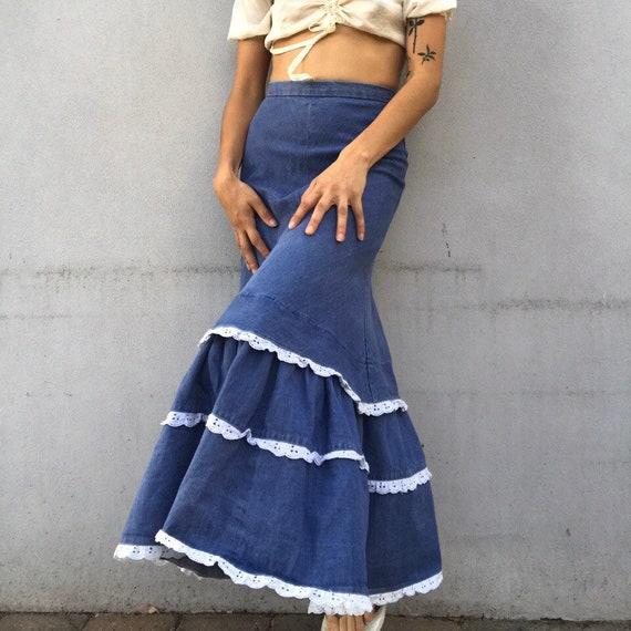 Vintage 1970s denim prairie milkmaid maxi skirt
