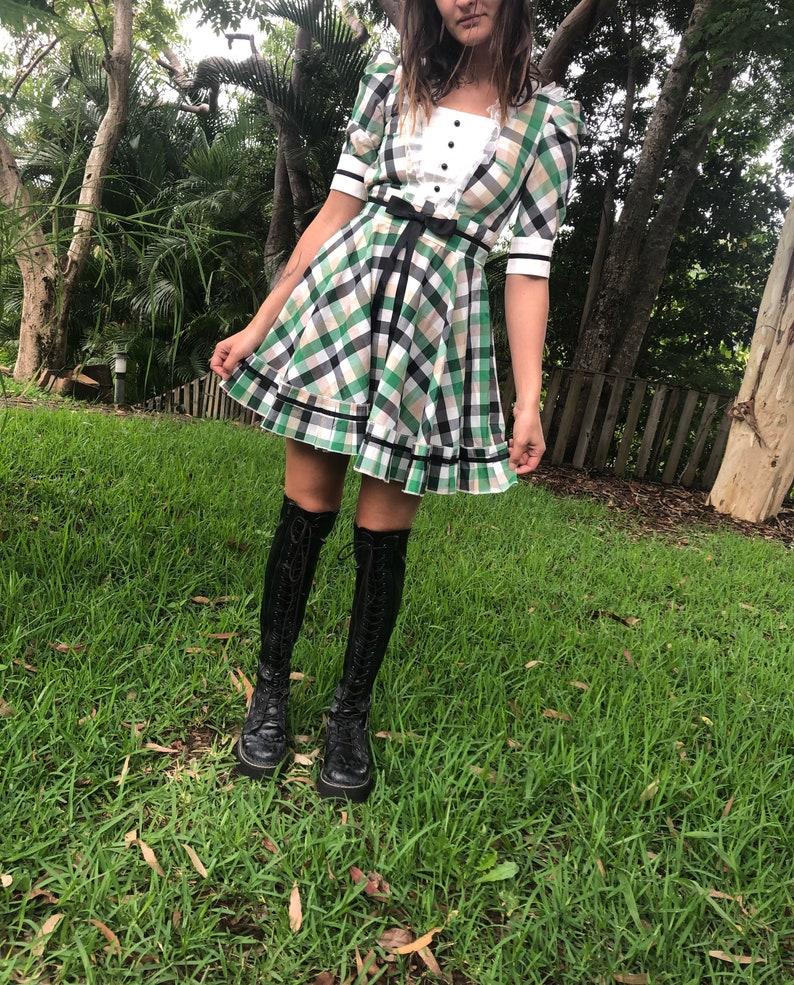 Green plaid Japanese harajuku Lolita milkmaid dress