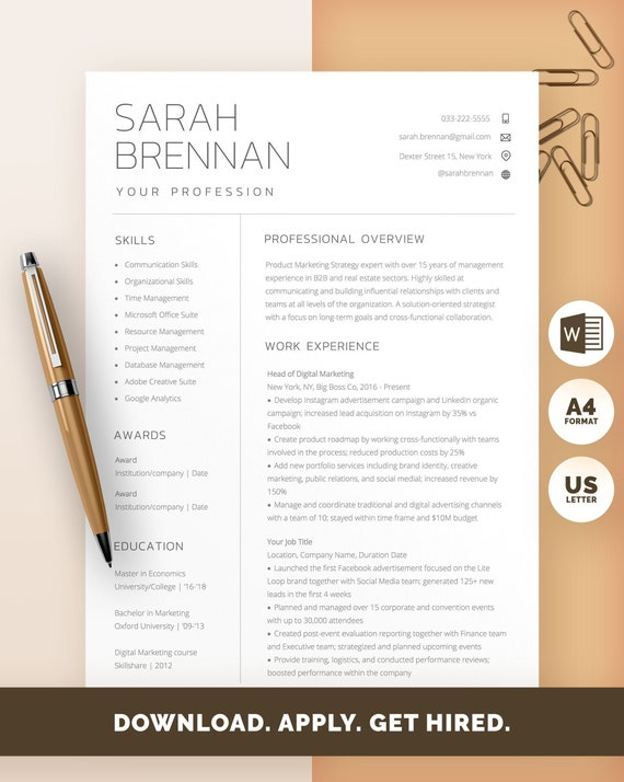 Word Resume Template Word Professional Resume Modern Resume Etsy