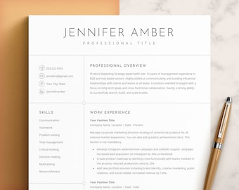 Resume Template, Professional Modern Resume Template for Pages, Word & Google Docs, Clean Modern Executive Resume Template 2021, CV Template