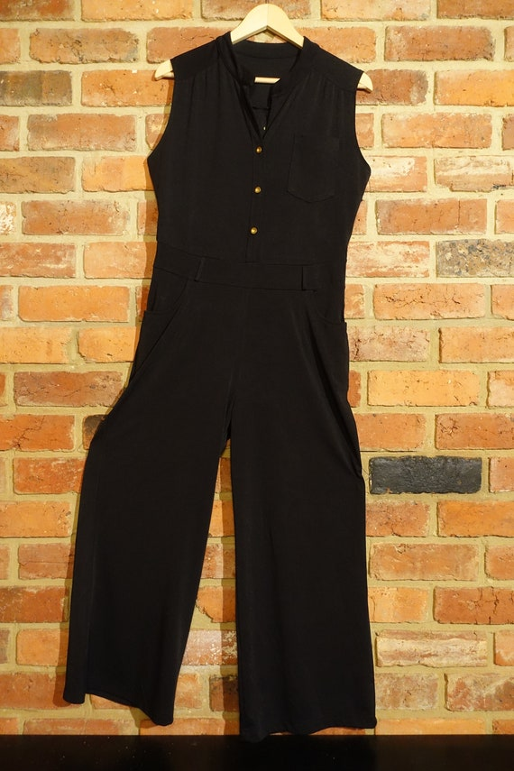 70's wide legged black sleeveless jumpsuit
