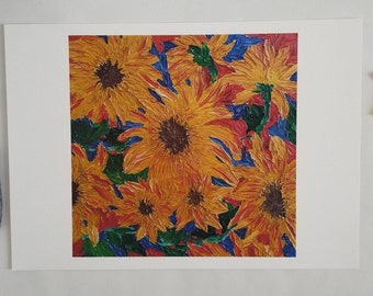 Sunflower art print, floral painting, canvas, original, large wall art, living room, kitchen, mum, birthday, gift for her, abstract, bedroom