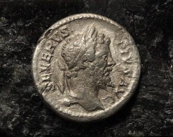 Septimius Severus Denarius , Rome, AD 193-211 , RIC 189. Silver coin Ancient Roman Empire, rare antique archaeological find.