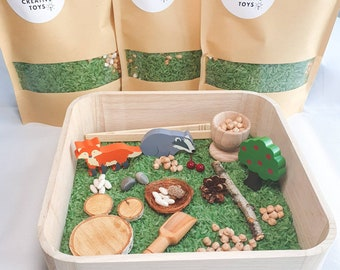 Forest animals sensory rice sorting set, eco friendly, wooden toys, natural loose parts, calm play, fox, deer, badger- KALM Creative Toys