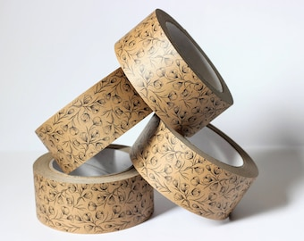 Floral Print Self Adhesive Kraft Paper Tape - Ideal for Packaging, Framing and Gifting - 50mm x 50m - Plastic Free/Recyclable/Eco Friendly