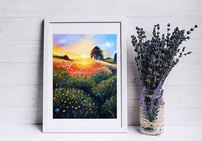 Flower Meadow Oil Painting Original Art Sunset Artwork Landscape Canvas Art Impasto by ArtShopLiliya
