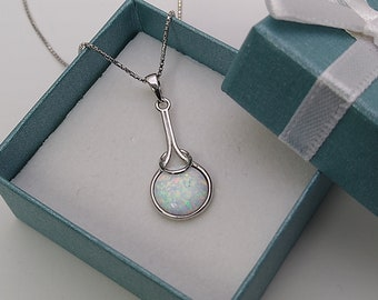 """White Opal Necklace. 16 or 18"""" Long .925 Sterling Silver."""