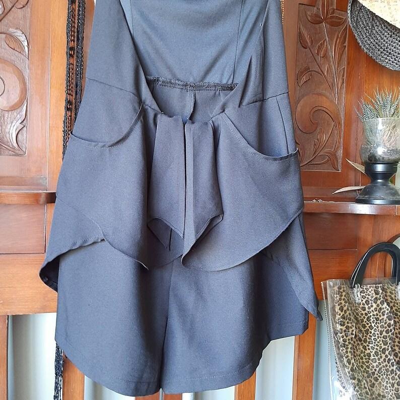 Shorts Jumpsuit Hanky Hem Short Playsuit Black Halter Neck Romper