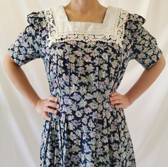 1980's watercolour florals lace bib day dress