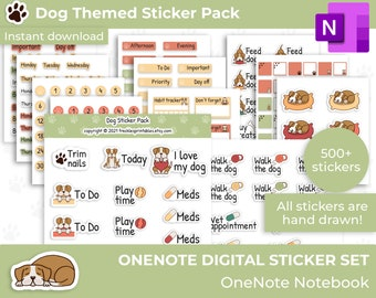 Pet stickers for Onenote, One Note Planner Stickers, Hand Drawn Stickers, Dog mum Stickers, Dog Lover Stickers