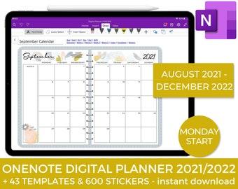OneNote Digital Planner, 2022 Planner, One Note, iPad planner, Academic Planner, Android, 2021 Planner, Digital Notebook, Bullet Journal