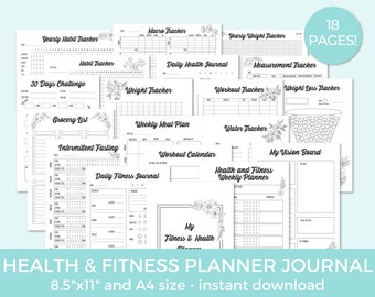 Fitness Planner, Health Planner, Fitness Journal, Exercise Planner, Workout Log, Food Journal, Weight Loss Planner