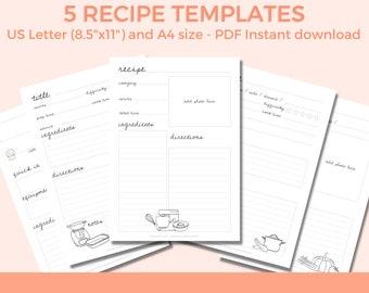 Recipe Book Template, Recipe Binder, Blank Recipe book, DIY Recipe Book, Recipe Planner, Recipe Printable, Family Recipe Book Organizer