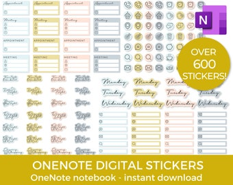 Onenote Digital stickers, One note planner stickers, precropped stickers, transparent PNG stickers, pastel stickers, work stickers, journal
